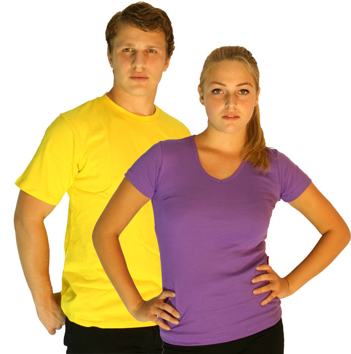 Work wear, aerobic wear, active wear, printed t-shirts, embroidered hats